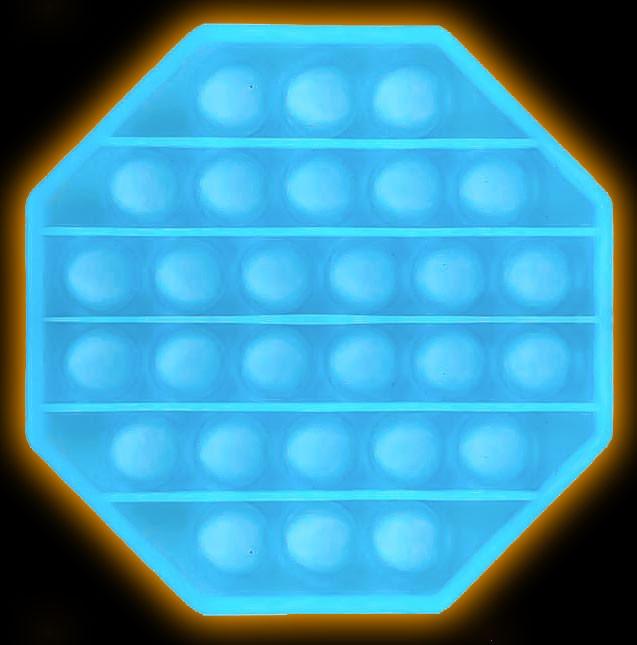 Push Pop - Pop it - Leuchtet im dunkeln - Achteck Blau - 3 Stück