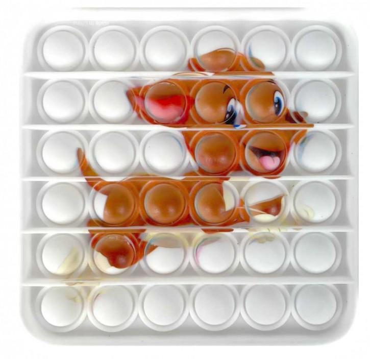 Push Pop - Pop it - Viereck Puppy - Spiel - Toy 3 Stück