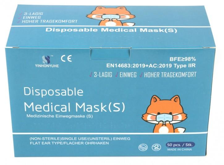 50 Stück 3-lagige Medizinische Einwegmasken für Kinder Blau
