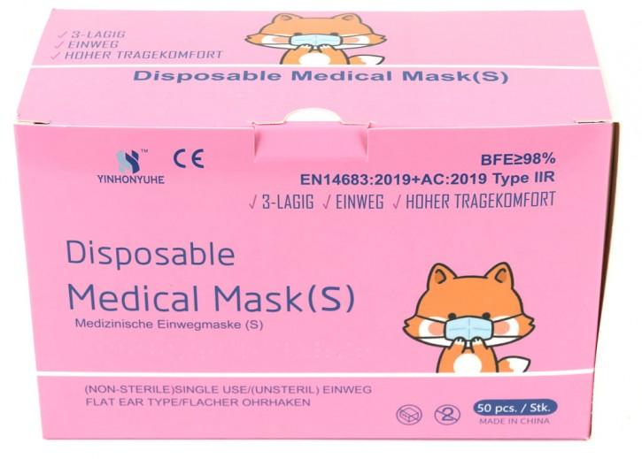 50 Stück 3-lagige Medizinische Einwegmasken für Kinder Rosa