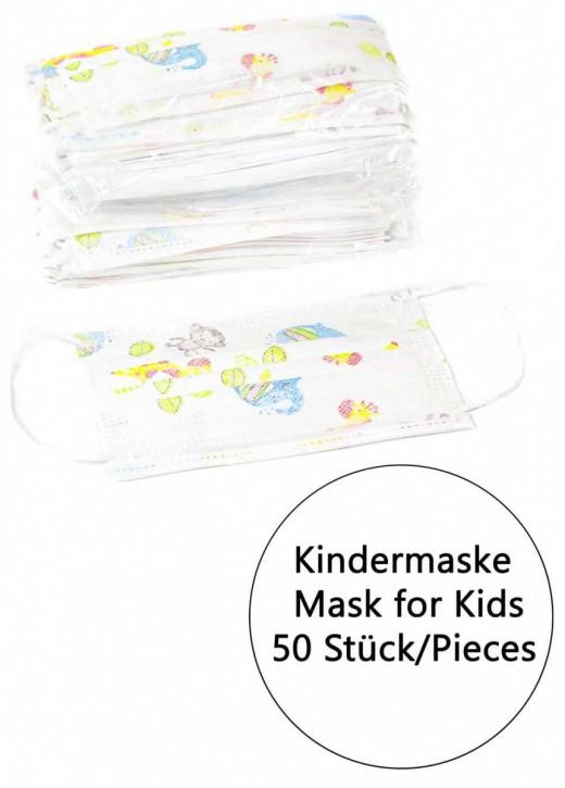 50 Stück 3-lagige Vlies Einwegmaske für Kinder Weiss