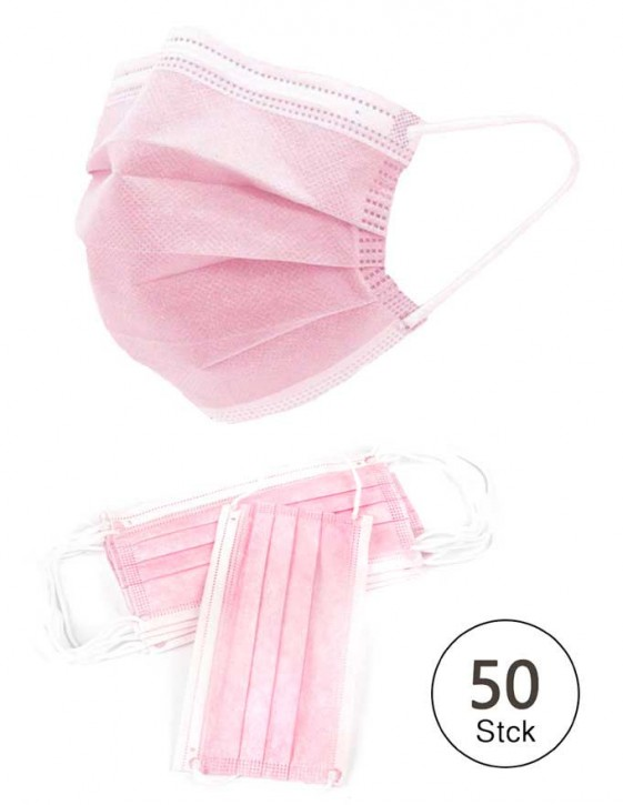 50 Stück 3-lagige Vlies Einwegmaske Rosa