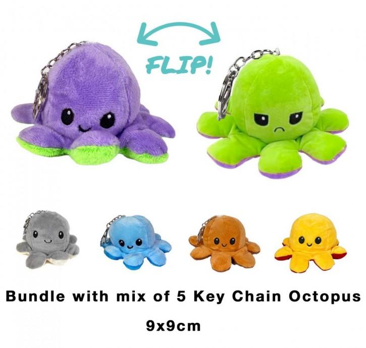 2 in 1 Wende-Octopus Schlüsselanhänger Key Chain Plüschtier Stofftier Doppelseitiges Kuscheltier reversible plush octopus toy 5 Stück