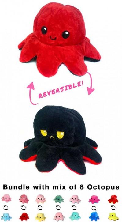 2 in 1 Wende-Octopus Plüschtier Stofftier Doppelseitiges Kuscheltier reversible plush octopus toy 8 Stück