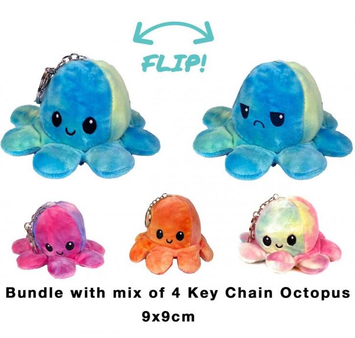 2 in 1 Wende-Octopus Schlüsselanhänger Key Chain Plüschtier Stofftier Doppelseitiges Kuscheltier reversible plush octopus toy 4 Stück