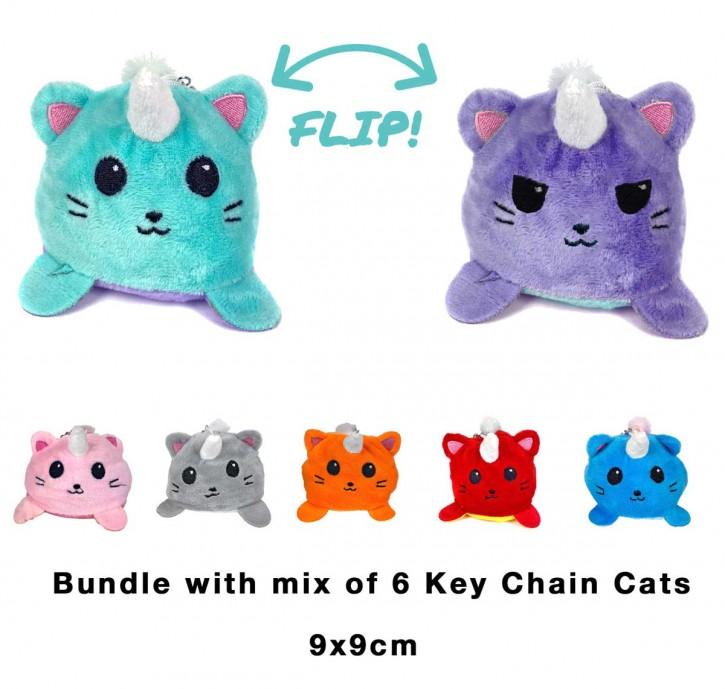2 in 1 Wende-Katze Schlüsselanhänger Key Chain Plüschtier Stofftier Doppelseitiges Kuscheltier reversible plush Cat toy 6 Stück