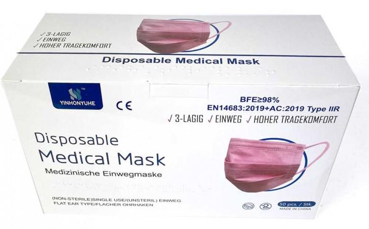 50 Stück 3-lagige Medizinische Einwegmasken Pink