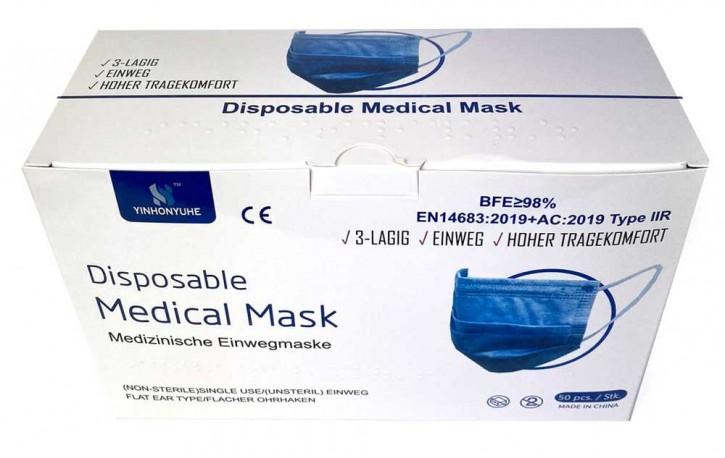 50 Stück 3-lagige Medizinische Einwegmasken Blau