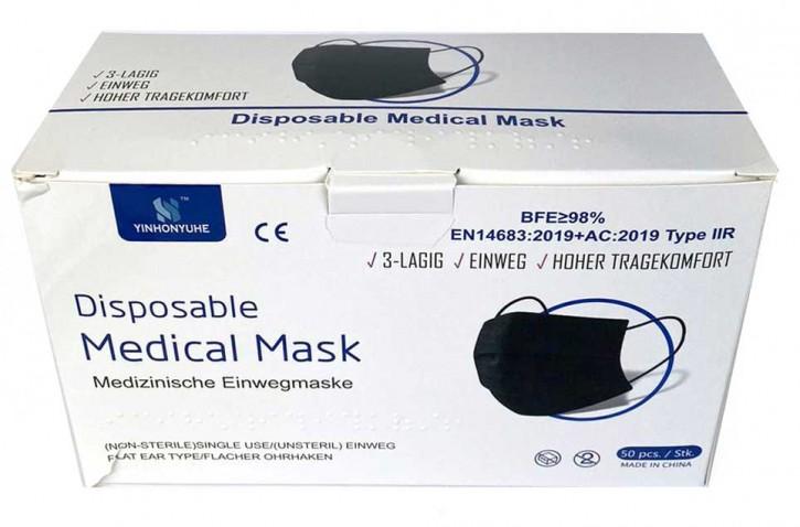 50 Stück 3-lagige Medizinische Einwegmasken Schwarz