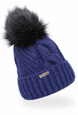 Bommelmütze Strickmütze Beanie Mütze Blau - 3 Stück