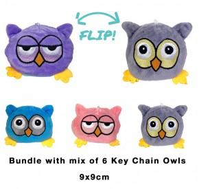 2 in 1 Wende-Eule Schlüsselanhänger Key Chain Plüschtier Stofftier Doppelseitiges Kuscheltier reversible plush Owl toy 6 Stück 9cm
