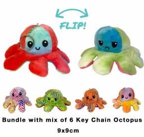 2 in 1 Wende Schlüsselanhänger Key Chain Plüschtier Stofftier Doppelseitiges Kuscheltier reversible plush toy 6 Stück 9cm