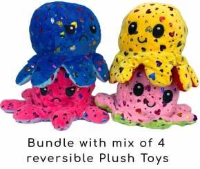 2 in 1 Wende Plüschtier Stofftier Doppelseitiges Kuscheltier reversible plush toy 4 Stück 20cm