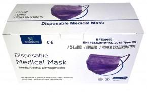 50 Stück 3-lagige Medizinische Einwegmasken Lila